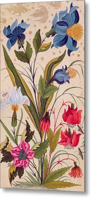 Exotic Flowers With Insects Metal Print
