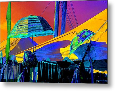 Metal Print featuring the photograph Exotic Parasols by Marianne Dow