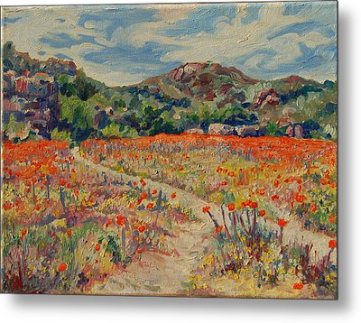Metal Print featuring the painting Expanse Of Orange Desert Flowers With Hills by Thomas Bertram POOLE