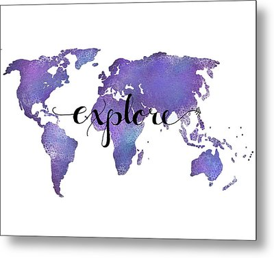 Explore World Map Painting Metal Print by Michelle Eshleman
