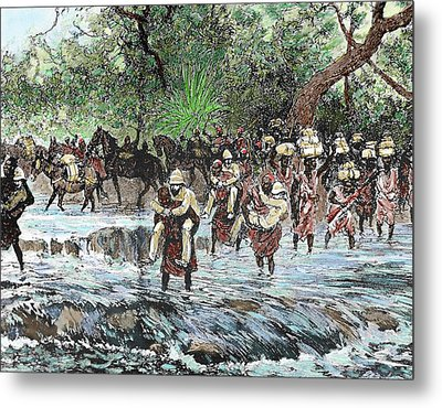 Explorers Crossing A Stream Metal Print by Prisma Archivo