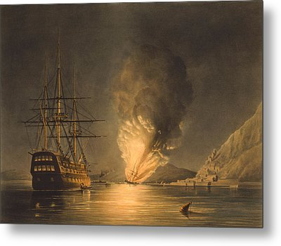 Explosion Of The Uss Steam Frigate Missouri Metal Print by War Is Hell Store