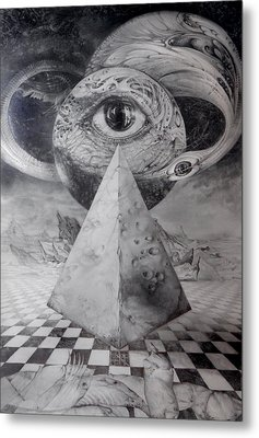 Metal Print featuring the drawing Eye Of The Dark Star - Journey Through The Wormhole by Otto Rapp