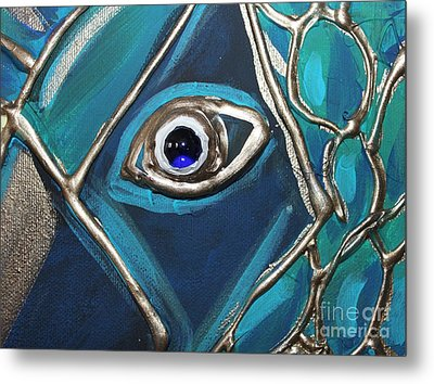 Metal Print featuring the painting Eye Of The Peacock by Cynthia Snyder