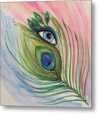 Eye Of The Peacock Metal Print