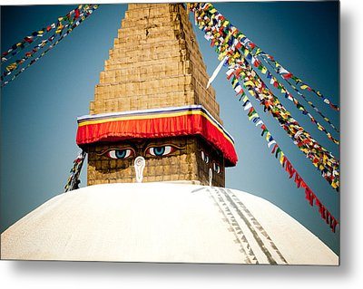 Eye Of Tibetan Stupa Boudnath And Buddhist Prayer Flags  Metal Print by Raimond Klavins