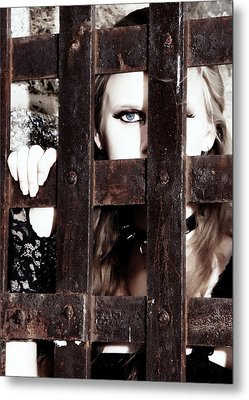Eye See You From Behind The Bars Metal Print