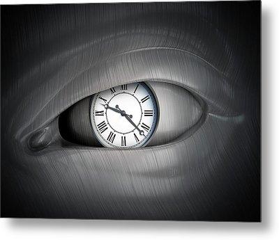 Eye With Clock Metal Print by Andrzej Wojcicki