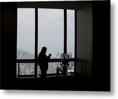 Eyes Down From The 103rd Floor Texting From The Top Of The World Metal Print by Thomas Woolworth