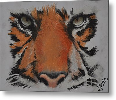Metal Print featuring the pastel Eyes Of The Tiger by Linda Ferreira