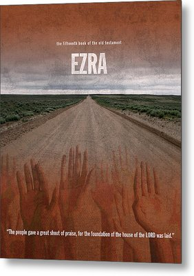 Ezra Books Of The Bible Series Old Testament Minimal Poster Art Number 15 Metal Print by Design Turnpike