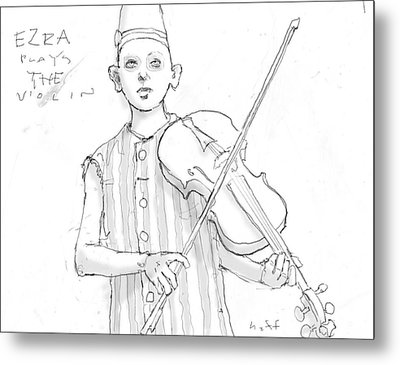 Ezra Plays The Violin Metal Print by H James Hoff