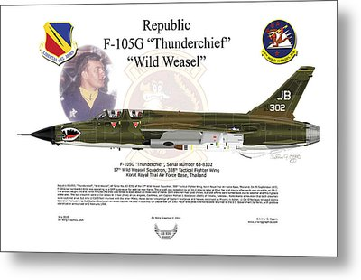 Metal Print featuring the digital art F-105g Thunderchief Wild Weasel by Arthur Eggers