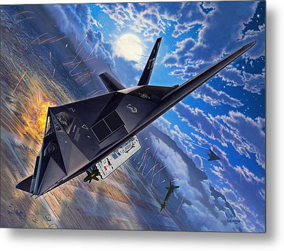 F-117 Nighthawk - Team Stealth Metal Print by Stu Shepherd