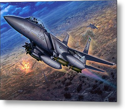 F-15e Strike Eagle Scud Busting Metal Print by Stu Shepherd