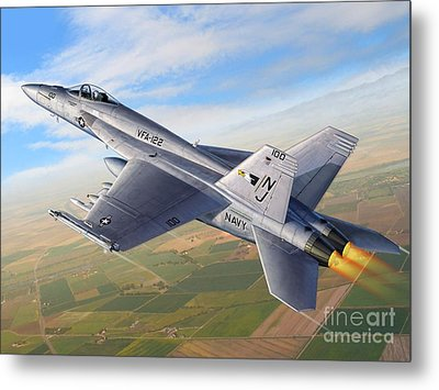 F-18e Over The Valley Metal Print by Stu Shepherd