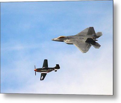 F-22 And P-51 Heritage Flight Metal Print