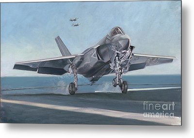 Metal Print featuring the painting F-35c Carrier Landing by Stephen Roberson