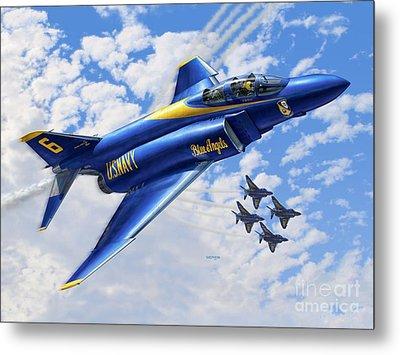 F-4 Phantoms In Blue Metal Print by Stu Shepherd