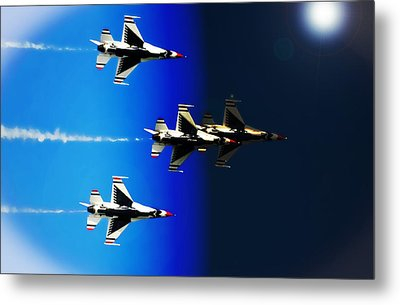 Metal Print featuring the photograph F16 Flight Into Space by DigiArt Diaries by Vicky B Fuller