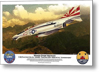 F4-phantom Wings Over Vietnam Metal Print by Kenneth De Tore