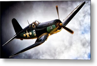 F4u Corsair 'jolly Roger Jump' Metal Print