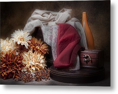 Fabric And Flowers Still Life Metal Print by Tom Mc Nemar