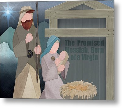 Fabric Nativity Metal Print by Michele Engling