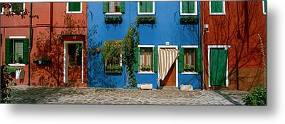 Facade Of Houses, Burano, Veneto, Italy Metal Print by Panoramic Images