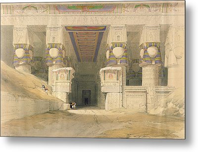 Facade Of The Temple Of Hathor, Dendarah, From Egypt And Nubia, Engraved By Louis Haghe 1806-85 Metal Print by David Roberts