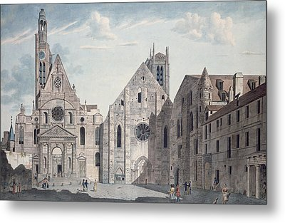 Facades Of The Churches Of St Genevieve And St Etienne Du Mont Metal Print by Angelo Garbizza