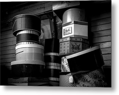 Face Behind The Hat Boxes Metal Print by Bob Orsillo