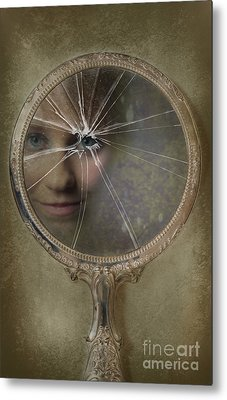 Face In Broken Mirror Metal Print by Amanda Elwell