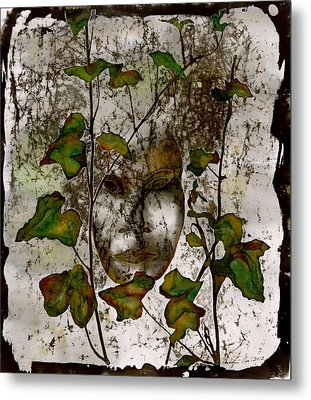 Face In The Garden Metal Print by Carolyn Doe