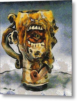 Face Mug By Face Jug  Metal Print by Teara Na