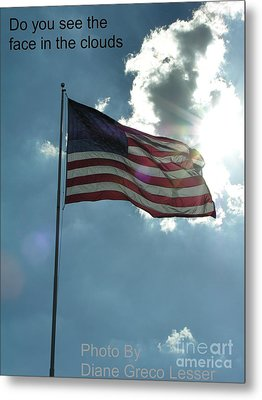 Face Of Jesus In Cloud W Flag 9 11 Remembered  Metal Print by Diane Greco-Lesser