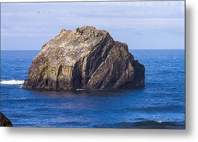 Metal Print featuring the tapestry - textile Face Rock by Dennis Bucklin