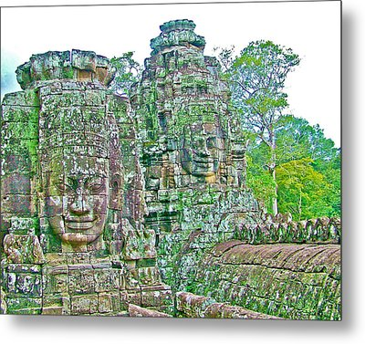 Face Towers In Bayon In Angkor Thom In Angkor Wat Archeological Park Near Siem Reap-cambodia Metal Print by Ruth Hager