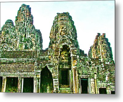 Face Towers Of Bayon In Angkor Thom In Angkor Wat Archeological Park Near Siem Reap-cambodia Metal Print by Ruth Hager