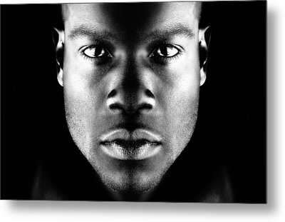 Face With Dramatic Lighting Metal Print