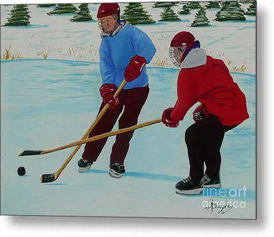 Faceoff Metal Print by Anthony Dunphy