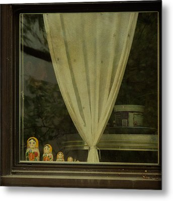 Metal Print featuring the photograph Faces In The Window by Sally Banfill