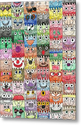 Faces Puzzle Poster Metal Print