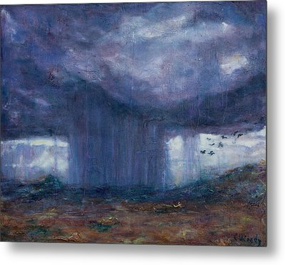 Metal Print featuring the mixed media Facing The Storm by Carla Woody
