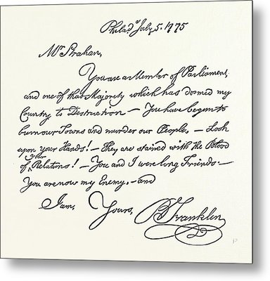 Facsimile Of A Letter From Benjamin Franklin To Mr Metal Print by English School