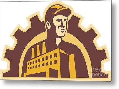 Factory Worker Building Gear Cog Retro Metal Print by Aloysius Patrimonio