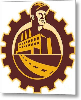 Factory Worker Mechanic With Cog Building Metal Print