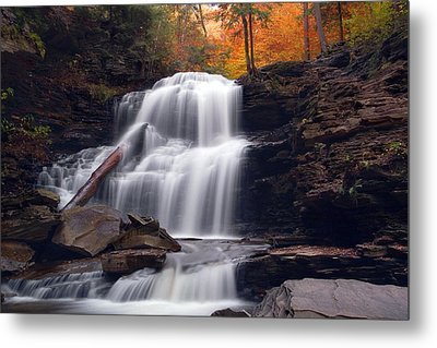 Fading October Daylight On Shawnee Falls Metal Print