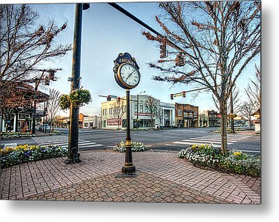 Fairhope Clock And 4 Corners Metal Print by Michael Thomas