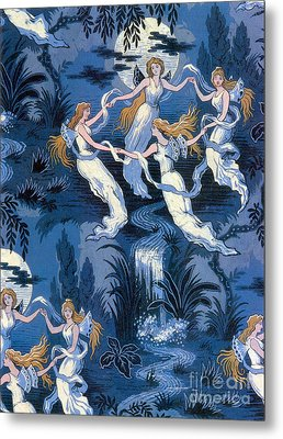Fairies In The Moonlight French Textile Metal Print by Photo Researchers